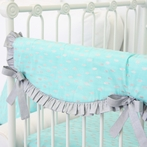 Aqua and Silver Sparkle Crib Rail Cover