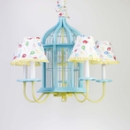 Aqua Birdcage Five Arm Chandelier and Shades