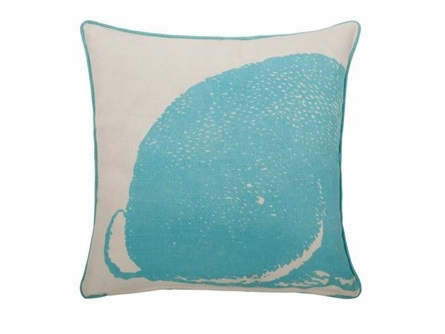 Aqua Bunny Linen Square Pillow