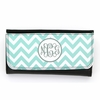 Aqua Chevron Monogram Wallet