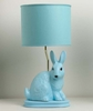 Aqua Colorblock Bunny Lamp On Bicycle Base With Aqua Drum Shade