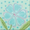 Aqua Daisy Imagination Square Hand Painted Canvas Art