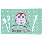 Aqua Dots with Owl Name Personalized Placemat