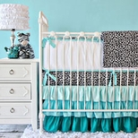 Aqua Girls Crib Bedding