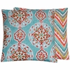 Aqua Medallion Large Throw Pillow