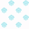 Aqua on White Damask Dot Wallpaper