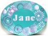 Aqua Oval Kaleidoscope Hand Painted Canvas Wall Art