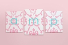 Aqua & Pink Damask Monogram Canvas Reproduction Set