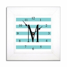 Aqua Stripe Wall Clock in Wide Frame