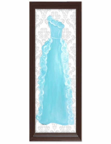 Aquamarine Dress with Damask Background Canvas Reproduction