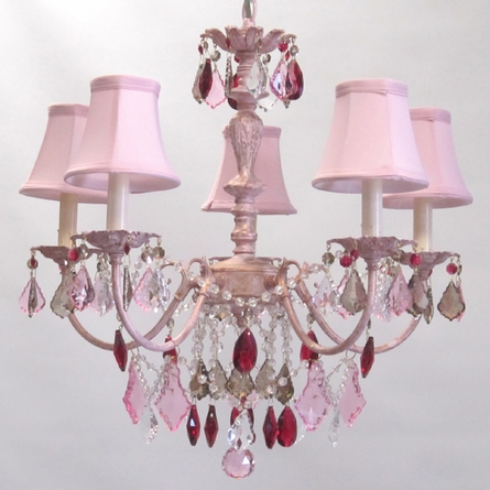 Aralie Pink Five Arm Chandelier in Blush With Gold Antiquing