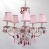 Aralie Pink Six Arm Chandelier in Blush With Gold Antiquing