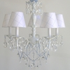 Aralie White Five Arm Chandelier With Blue and Clear Crystals