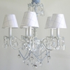 Aralie White Six Arm Chandelier With Blue and Clear Crystals