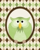 Argyle Owl in Green Canvas Wall Art