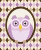 Argyle Owl in Purple Canvas Wall Art