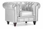 Aristocrat Armchair in Silver Leatherette