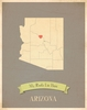 Arizona My Roots State Map Art Print - Blue