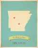Arkansas My Roots State Map Art Print - Blue