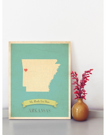 Arkansas My Roots State Map Art Print