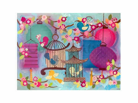 Asian Birdies Canvas Wall Art
