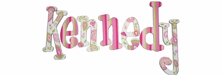 Audriana Paisley in Pink & Green Hand Painted Wall Letters