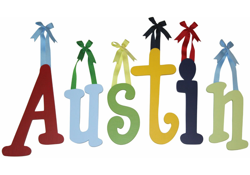 Austin S Multi Colored Whimsical Wooden Hanging Letters