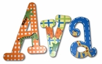Ava Orange & Blue Jungle Hand Painted Wall Letters