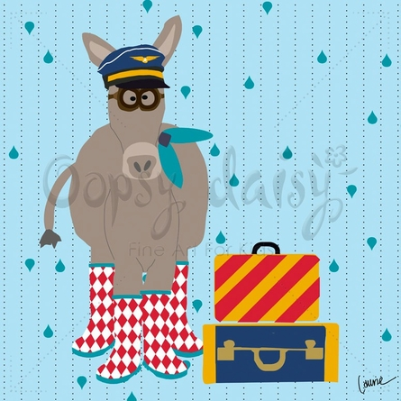 Aviator Donkey Canvas Wall Art