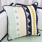Aztec Gold and Mint Square Throw Pillow