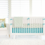 Aztec in Aqua and Gold Crib Bedding Set
