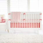 Aztec in Coral and Gold Crib Bedding Set