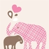 Baby and Mommy Elephant Art Print