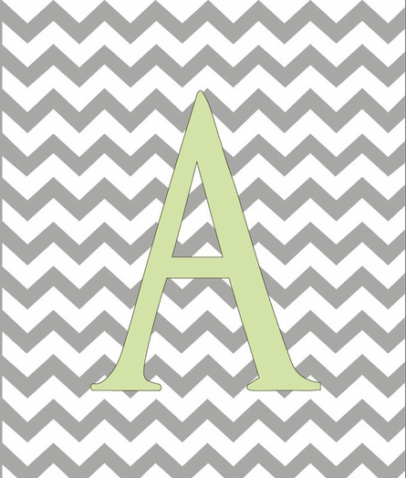 Baby Boy Initial Personalized Chevron Canvas Reproduction