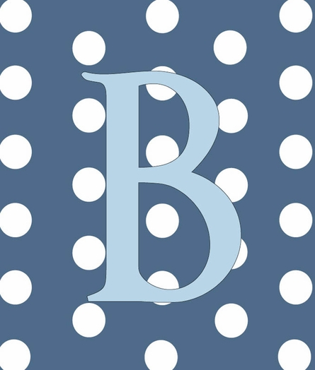 Baby Boy Initial Personalized Dots Canvas Reproduction