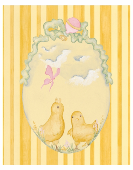 Baby Chicks Canvas Reproduction - Pink