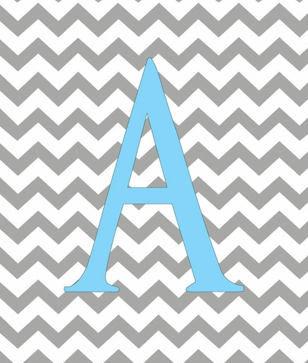 Baby Girl Initial Personalized Chevron Canvas Reproduction