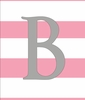 Baby Girl Initial Personalized Striped Canvas Reproduction