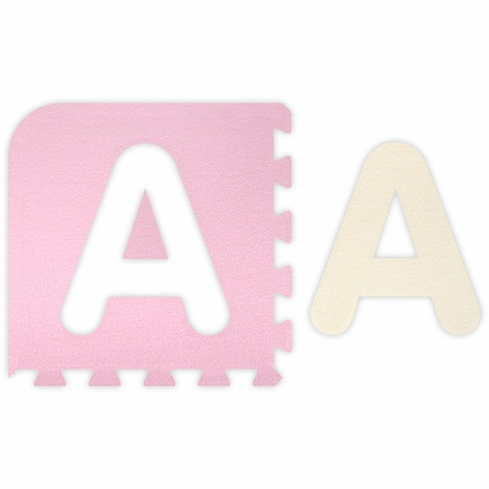 Baby Pink A-Z & 0-9 Interlocking Floor Mat - 5 x 5