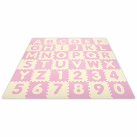 Baby Pink A-Z & 0-9 Interlocking Floor Mat - 6.5 x 6.5
