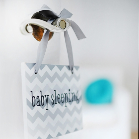Baby Sleeping Gray Chevron Doorknob Hanger