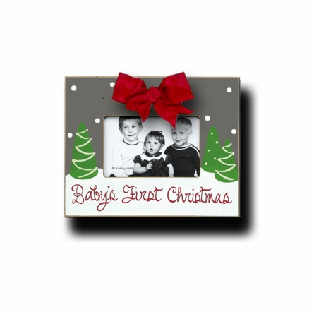 Babys First Christmas Flannel Picture Frame