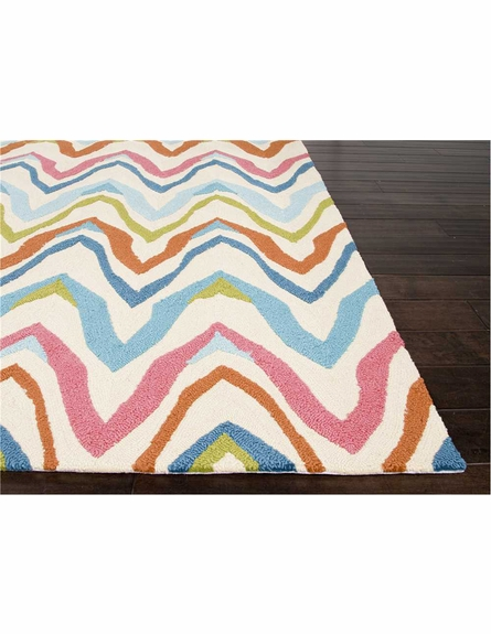 Bahia Chevron Rug in White and Blue