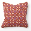 Balance Fuchsia Print with Orange Embroidery Throw Pillow