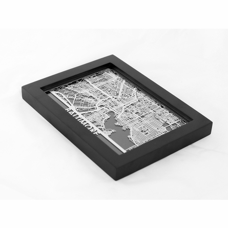 Baltimore Stainless Steel Framed Map