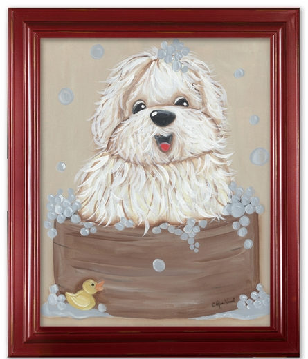 Barks-n-Bubbles Framed Canvas Reproduction