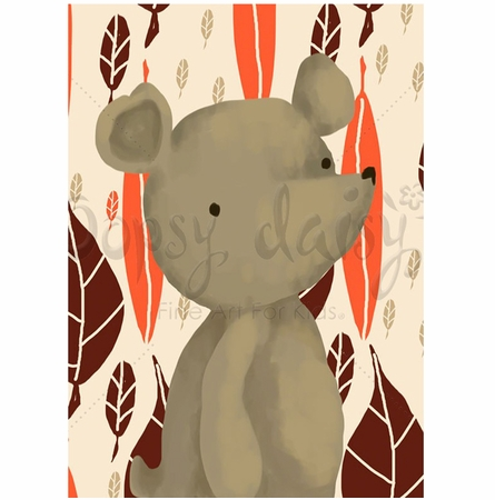 Barrington the Bear in Orange Canvas Wall Art