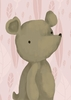 Barrington the Bear in Powder Pink Canvas Wall Art