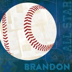 Baseball All Star - Blue Canvas Wall Art