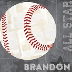 Baseball All Star - Gray Canvas Wall Art